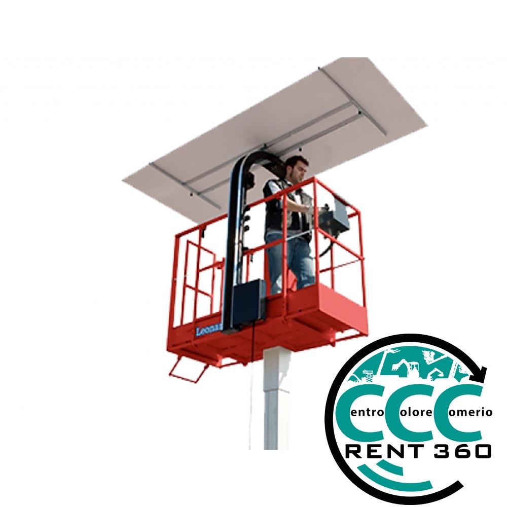 piattaforma aerea verticale elettrica 5,90 mt con alzalastre cartongesso